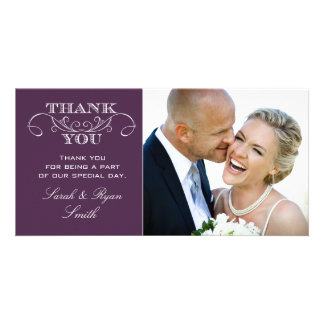 Chic Purple Wedding Photo Thank You Cards