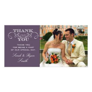 Chic Purple Wedding Photo Thank You Cards