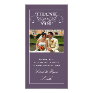 Chic Purple Wedding Thank You Photo Cards