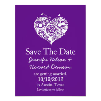 Chic Purple & White Heart Wedding Announcement