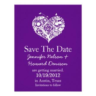 Chic Purple White Heart Wedding Announcement