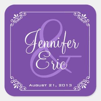 Chic Purple & White Wedding Favor Sticker