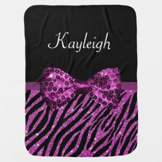 Chic Purple Zebra Print FAUX Glitz Bow With Name Baby Blanket