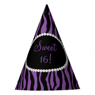 Chic Purple Zebra Print Pearls Sweet 16 Party Hats