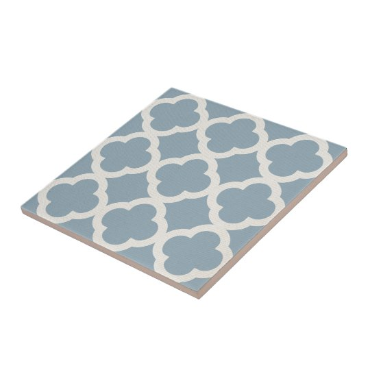 Chic Quatrefoil Pattern in Blue on Canvas Look