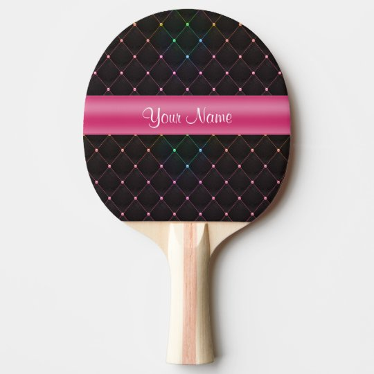 Chic Quilted Pink Black Colourful Personalised Ping Pong