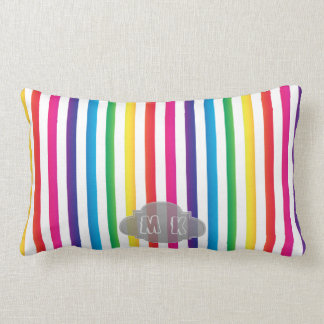 Chic Rainbow Color Stripes Pattern Custom Monogram Lumbar Cushion