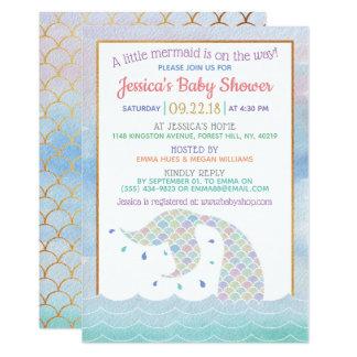 Chic Rainbow Watercolor Mermaid Baby Shower Card