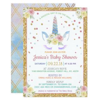 Chic Rainbow Watercolor Unicorn Baby Shower Card
