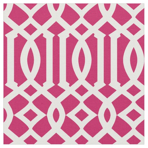 Chic Raspberry Pink and White Trellis Pattern Fabric