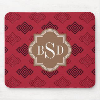 Chic red abstract geometric pattern mousepads