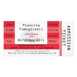 Chic Red Admission Ticket Birthday Invite Custom Photo Card