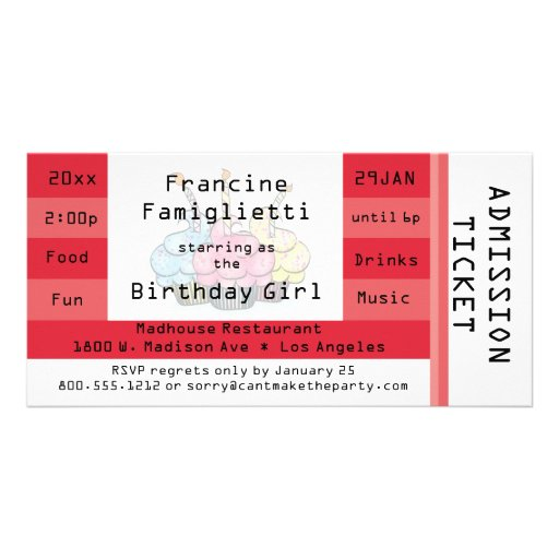 Chic Red Admission Ticket Birthday Invite Photo Card Template