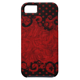 Chic Red and Black Damask iPhone 5 Case