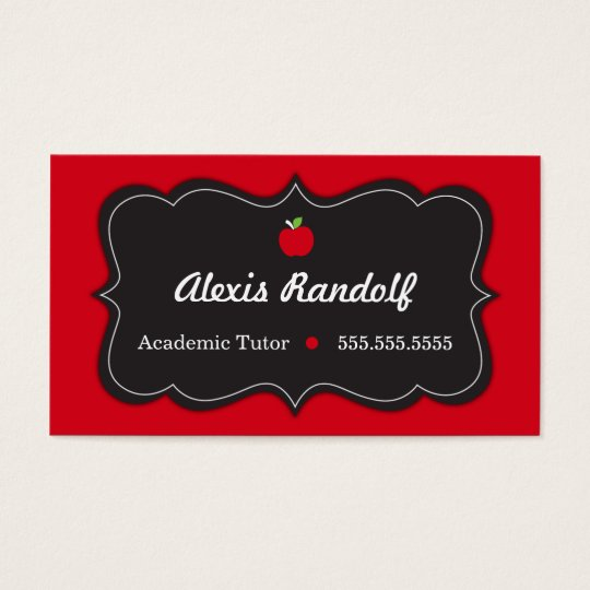 Chic Red and Black Tutor Business Card