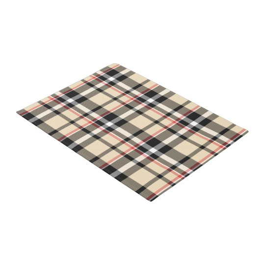 Chic Red Beige Black Squares Tartan Plaid Pattern