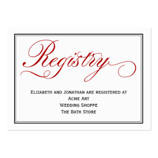 Chic Red Calligraphy Script Wedding Registry Card Pack Of Chubby Business Cards