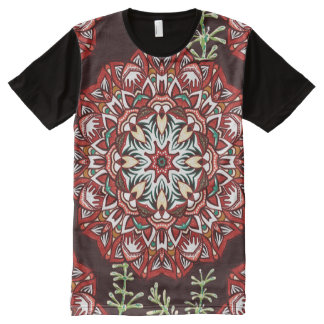 Chic red circular Flower Pattern All-Over Print T-Shirt
