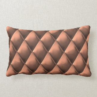 Chic Red Copper Faux Metal Diamond Square Pattern Lumbar Pillow