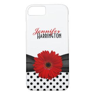 Chic Red Gerbera Daisy Polka Dot iPhone 8/7 Case