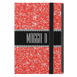 Chic Red Glitter Monogrammed iPad Mini Cover