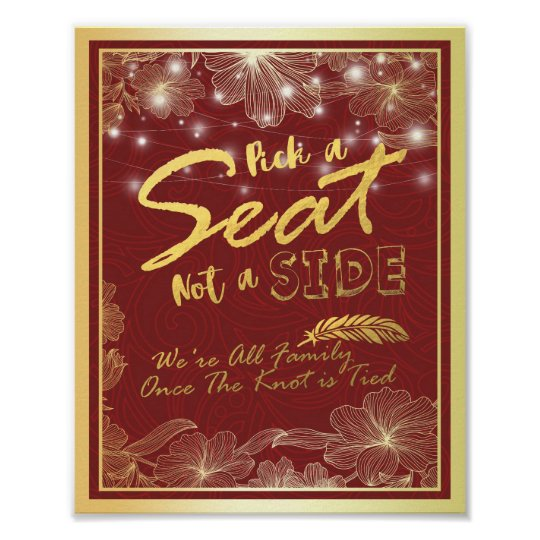 Chic Red Gold Pick A Seat Not A