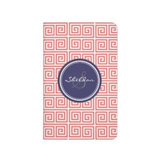 Chic red greek key geometric patterns monogram journal