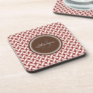Chic red herringbone geometric patterns monogram beverage coaster