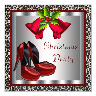 Chic Red High Heel Shoes Christmas Party 13 Cm X 13 Cm Square Invitation Card