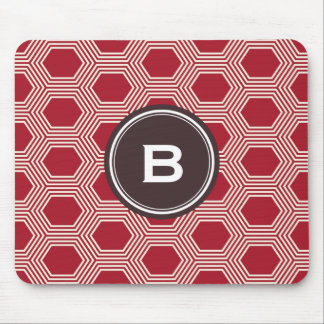 Chic red honeycomb geometric patterns monogram mousepad