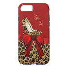 Chic Red & Jaguar Print iPhone 7 Case