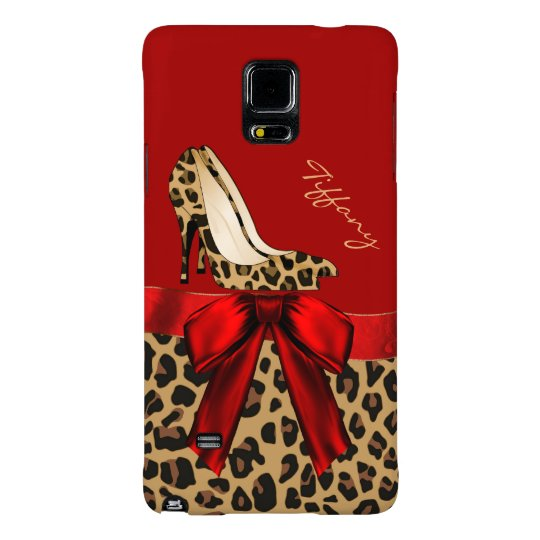 Chic Red & Jaguar Print Samsung Galaxy Note 4 Case