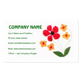 Chic Red, Orange Flowers Business Card