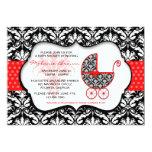 Chic Red Polka Dot Damask Baby Shower Invite