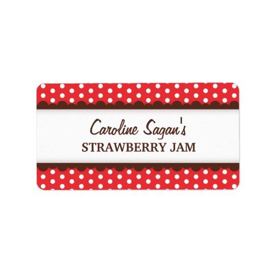 Chic red polka dot dots pattern canning jar label address label