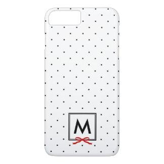 Chic Red Ribbon Polka Dot Pattern Monogram iPhone 8 Plus/7 Plus Case