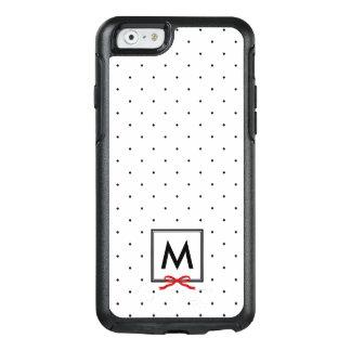 Chic Red Ribbon Polka Dot Pattern Monogram OtterBox iPhone 6/6s Case