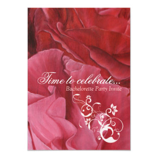 Chic red roses bachelorette party invites