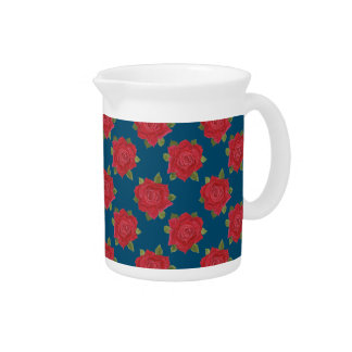 Chic Red Roses on Blue Custom Pitcher or Jug