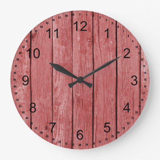 Chic Red Rustic Faux Wood Large Clock