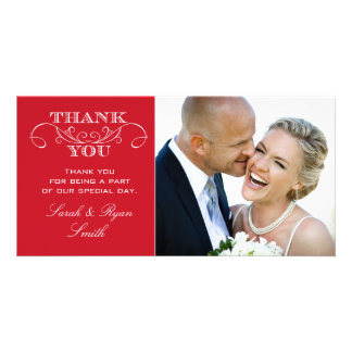 Chic Red Wedding Photo Thank You Cards Photo Card Template