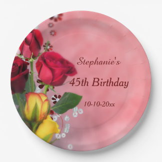 Chic Red & Yellow Roses 45th Birthday 9 Inch Paper Plate