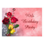 Chic Red & Yellow Roses 90th Birthday