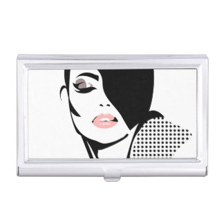 Chic retro dots fashion girl business card holder