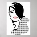 Chic retro dots fashion girl poster