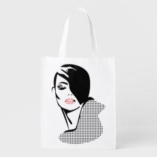 Chic retro dots fashion girl reusable grocery bag