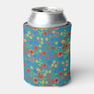 Chic Retro Floral Miniprint on Teal Can Cooler