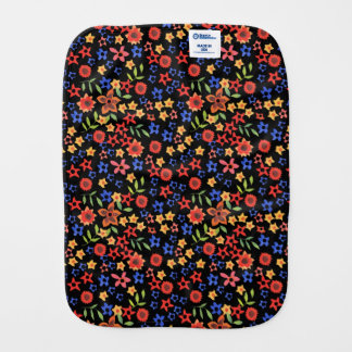 Chic Retro Floral Print Custom Baby Burp Cloth