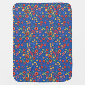 Chic Retro Floral Print on Blue Baby Blanket