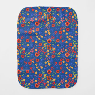 Chic Retro Floral Print on Blue Baby Burp Cloth